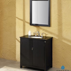 "Fresca - Fresca Lynx Classic Single Sink Bathroom Vanity w/ Black Galaxy Countertop - At a width of 32"" and a height of 36"", the Fresca Lynx bathroom vanity is ideal for a small bath or powder room. The double door panels are accented by vertical lines crafted into a solid aspen wood frame, and the traditional black wood finish pairs well with both the antique hardware and your choice of either flecked Baltic brown or solid black galaxy granite countertops. Storage-wise, this bathroom vanity provides 21"" of depth for two interior shelves - perfect for towels and other bathroom necessities. The Fresca Lynx bathroom vanity is complemented by the optional Lynx Classic Mirror. Sold separately, this 25"" wide x 36"" high x 1"" deep mirror can provide the perfect match for your classically designed bathroom.Please note: Mirror, Faucet(s), P-traps and Pop-Up Drains are optional and are NOT included in the price of this bathroom vanity.DecorPlanet is proud to offer Fresca Bathroom products. Fresca is a leading manufacturer of high-quality vanities, accessories, toilets, faucets, and everything else to give you the freshest bathroom in the neighborhood. Fresca is known for carrying the latest and most popular styles in modern and contemporary bathroom design that are made with high quality materials and superior workmanship."