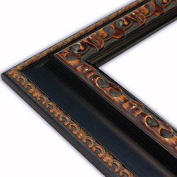 The Frame Guys - Genoa Black with Ornate Brown Edge Picture Frame-Solid Wood, 8x20 - *Genoa Black with Ornate Brown Edge Picture Frame-Solid Wood, 8x20