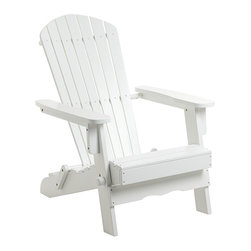 """Lamps Plus - Coastal Monterey White Wood Adirondack Chair - This beautiful outdoor Adirondack chair is constructed out of bright white slats of acacia wood. Classic design has adjustable seat back low seat and wide arm tops. A perfect complement to most tasteful outdoor design schemes. White acacia wood Adirondack chair. Wood slat design. 27 1/2"""" wide. 35"""" deep. 37 1/2"""" high.  White acacia wood Adirondack chair.   Wood slat design.    27 1/2"""" wide.   35"""" deep.   37 1/2"""" high."""