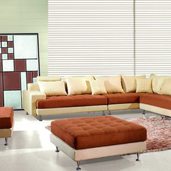 Modern Ivory Camel Soft Microfiber Sectional Sofa Chaise Chair Ottoman - Stylish seating and comfort are a welcomed addition to your home. Soft, yet durable, the light brown microfiber seat and back cushions rest on an ivory finish base creating a wonderful two-tone effect. Accent pillows feature complementary tones add to the dynamic look.Durable microfiber fabric, webbed base and coil spring cushion.