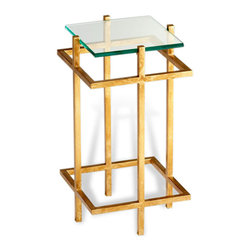 Kathy Kuo Home - Contemporary Gold Leaf Gallery Glass End Table - The spare elegance of Bauhaus-influenced architecture and the luxury of gold leaf are combined to brilliant effect in this beautiful end table.  Whether placed in an Art Nouveau, Hollywood Regency, or Modern room, this piece captures a timeless style.