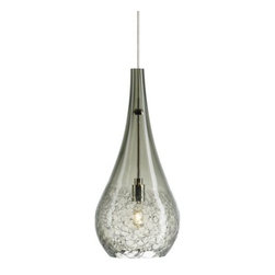 """LBL Lighting - Seguro Pendant by LBL Lighting - The LBL Lighting Seguro Pendant adds sparkling texture and sexy curves into modern interiors. The teardrop-shaped shade is made out of transparent glass, with a distinctive crackle texture around its widest point. Choose from a variety of vibrant glass colors, complementary metal finishes and low voltage mounting options.For more than 40 years, Illinois-based LBL Lighting has created innovative lighting fixtures based on the principles of beauty, originality and quality. Such values remain evident in their current line of fixtures, which feature distinctive elements like organic art glass, solid construction and the latest low voltage and LED lighting technology.The LBL Lighting Seguro Pendant is available with the following:Details:Transparent glass shade with crackle textureMetal supportCeiling canopy finish matches finish option selected72"""" field-cuttable suspension cableLow voltageETL ListedOptions:Finish: Bronze, or Satin Nickel.Mounting: Fusion Jack, Monopoint, or Monorail.Shade: Amber, Aqua, Brown, Clear, Olive Green, or Smoke.Mounting Details:Fusion Jack: Includes one 50 watt bulb. See Related Items for mounting options.Monopoint: Includes one 50 watt bulb, 4"""" round flush canopy and low voltage transformer.Monorail: Includes one 50 watt bulb and Fusion Jack adapter for monorail installation.Lighting:One 35 Watt 12 Volt 12 Volt Bi-Pin Low voltage GY6.35 Base Xenon lamp (included).Shipping:This item usually ships within 3 to 5 business days."""