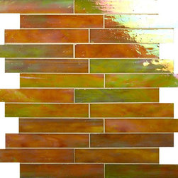 "Glass Tile Oasis - Chestnut 1"" x 6"" Brown Brick Victorian Glossy & Iridescent Glass - Sheet size:  12 1/2"" x  13 7/8""     Tile Size:  1"" x 5 7/8""     Tiles per sheet:  24     Tile thickness:  1/8""      Grout Joints:  1/8""     Sheet Mount:  Mesh Backed     NOTE: Iridescent colors not recommended for water line applications in pools/spas   Sold by the sheet      - Bring bold  dazzling style to any space with Victorian  a collection made from vibrant stained glass. This series stands out for its beautiful patterns and meticulous attention to detail. The mesh-backed tiles come in varying sizes depending on the design  and they are suitable for variety of interior and outdoor spaces."