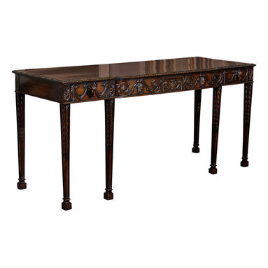 Consigned Adams Style Mahogany Console Table - Drama queen. Named for Queen Victoria of England, the Victorian style is marked by its elaborate carvings and dark finish. This console will reign supreme wherever you set it, whether in the foyer, behind a sofa in the living room or as an accent piece in your home office.