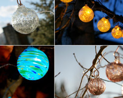 Aurora Glow Solar String Lights - The coolest thing about these lights, aside from them being solar, is that every one is hand blown and unique. The variety of styles and colors means it can compliment any back yard, patio or deck.
