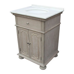 "EuroLux Home - New 26"" Single Sink Chest White/Cream Marble - Product Details"