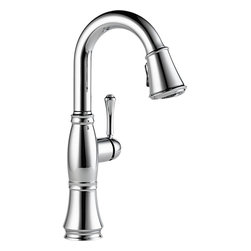 "Delta - Delta 9997-DST Cassidy Single-Handle Pull-Down Bar/Prep Faucet (Chrome) - Delta 9997-DST Cassidy Single-Handle Pull-Down Bar/Prep Faucet (Chrome). The Delta 9997-DST is part of the Cassidy Series. This beautiful kitchen faucet features a Touch-Clean Two-Function wand spout, a 62"" braided hose for smooth operation, and a lever handle for precise volume and temperature control. It comes with 32"" Innoflex supply lines with 3/8"" compression fittings, a 1.8 GPM flow rate, and a 6-3/8"" long, 15"" tall spout. This model comes in a bright, Chrome finish."