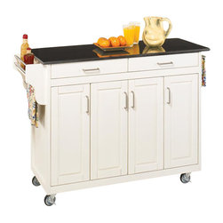 Home Styles - Home Styles Create-a-Cart 49 Inch Black Granite Top Kitchen Cart in White - Home Styles - Kitchen Carts - 92001024 - Home Styles Create-a-Cart Kitchen Cart in a White finish with a black granite top features solid wood construction, four cabinet doors open to storage with three adjustable shelves inside, handy spice rack with towel bar, paper towel holder, and heavy duty locking rubber casters for easy mobility and safety.