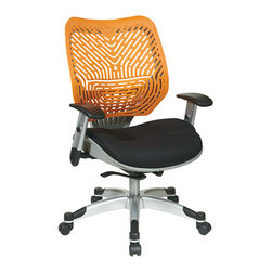 Office Star - Space Seating 86 REVV Series Unique Self Adjusting Tang SpaceFlex Back & Raven M - Unique Self Adjusting SpaceFlex  Tang Back Managers Chair. Self adjusting SpaceFlex  Backrest Support System with Breathable Raven Mesh Seat, One Touch Pneumatic Seat Height Adjustment, Self Adjusting 4 to 1 Synchro Tilt Control with 3 Position Lock and Anti-Kick Function, Tilt Tension Adjustment, Height Adjustable Platinum Coated Arms with Soft PU Pads, Heavy Duty Platinum Coated Base with Black End Caps and Dual Wheel Carpet Casters.