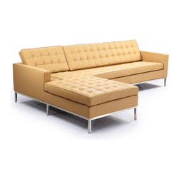 """Kardiel Florence Knoll Style Left Sectional, Oxford Fawn Genuine Leather - This stunning reproduction of the Florence Knoll 1956 """"Sectional Series"""" is a Kardiel Signature reproduction. Each piece is Handcrafted and features the original hardwood box frame, upholstered with Top Grain European Aniline Soft Leather. You will not find a higher quality reproduction of the Florence Series. All reproduction details have been taken into consideration, from the height of the stainless steel legs, to the diameter of the buttons, to the pitch angle of the back. Now you can have your own premium reproduction of the Florence Knoll 1956 series. Available in a variety of coordinating pieces including the club chair, the 2 and 3 seat sofa, the 2 and 3 seat bench, the ottoman and the Florence Knoll sectional. Created with the highest accuracy to detail you can have your own version of one of the most influential designer icons of the 20th century. Originally meant to complement the classic innovations of Saarinen and Bertoia, the style perfectly compliments todays modern home. From the traditional hardwood box frame construction to the Premium Top Grain Aniline Leather, you will not find a higher quality reproduction of the Florence."""