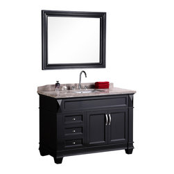 "Design Element - Design Element Hudson 48"" Espresso Modern Single Drop-in Sink Vanity Set - The 48"" Hudson Vanity is elegantly constructed of solid hardwood. The Badel Gray Marble countertop's classic beauty and the transitional-styled cabinetry bring a sophisticated look to any bathroom."