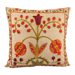 Handmade Suzani Pillow Cover - Suzani pillow cover from Uzbekistan. Hand embroidered with naturally dyed. Anatolian and central Asian patterns. Great for Boho-Chic, Bohemian decorating style, and can also be mixed with contemporary, modern or traditional decor. Check out our Facebook and Pinterest pages for examples of suzanis placed in rooms featured in Elle Decor, Vogue, and other magazines.
