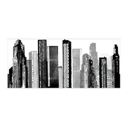 RoomMates Peel & Stick - Cityscape Giant Wall Decal - Bring a taste of the big city into any room with this stunning silhouette of a modern cityscape. This unique design is an effortless way to add style to any room. Unlike stencils or more permanent wall graphics, RoomMates wall decals apply in seconds and can be removed or repositioned at any time, with no sticky residue or damage to the surface. Apply this design on its own as an art piece on the wall or use it creatively behind couches or furniture... or why not try it as a headboard for your bed? You'll feel like you're part of the big city every time you see it.