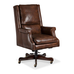 Randall Allan - Murphy Swivel Tilt - Here's something tall, dark and handsome to swing you around the floor. It has a chiseled shape with squarish arms and a strong back in tobacco leather, and it glides effortlessly on five sturdy castered legs. Lean back into this dreamy adjustable seat.