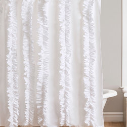 Lush Décor - White Belle Shower Curtain - This shower curtain brings an elegant touch to your bathroom with rows of vertical ruffles.   72'' W x 72'' H 100% polyester Dry clean Imported