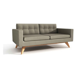 True Modern - Luna Loveseat/Sofa, Calvin Mouse - This streamlined loveseat designed by Edgar Blazona epitomizes everything you love about Danish modern. Sturdily built with a solid wood frame and legs, it features the simple shape and button tufting of a true classic — plus, it's the perfect size for smaller cosmopolitan quarters.