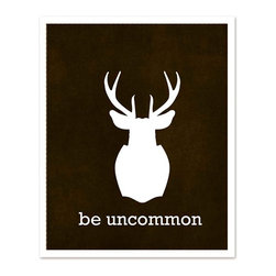 Hairbrained Schemes - Be Uncommon Stag Poster - No need to shoot and stuff the stag with this print. Be uncommon and put the striking silhouette on your wall without the anguish and filth of actually hunting one down.