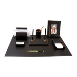 Bey-Berk - Asti Leather 8-Piece Desk Set Multicolor - D1200SET - Shop for Desk and Drawer Organizers from Hayneedle.com! The luxury of fine leather is a sure sign of success. Our Genuine Leather Desk set lets people know you work in style. Attention to detail and quality craftsmanship are the keys to this contemporary collection. The supple leather is complemented by smart off-white stitching. Matching business card and letter holder feature an innovative design which flows seamlessly with the curved style of the double pen stand. Highly polished gold plated brass accents complete the look of this beautiful set. Available in deep Cocoa brown tones.