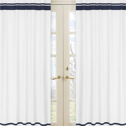Sweet Jojo Designs - White and Navy Modern Hotel 84-inch Curtain Panel Pair - Bring a crisp nautical look to any room in your home with this curtain panel pair from Sweet JoJo Designs. These stylish curtains measure 84 inches long,and coordinate with other items from Sweet JoJo designs to create a complete theme.