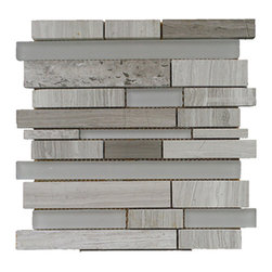 """GL STONE - Marble & Glass Random Strip Modern Brick Mosaic Tile, 1 Carton, Wooden Grey - Glossy marble and frosted glass mosaic tile is one of the most popular tile for the interior wall and floors. This beautiful color of wooden grey polished finished creates a sleek and attractive design to any room. The mesh backing not only simplifies installation, it also allows the tiles to be separated which adds to their design flexibility. These tiles will give a luminescent quality to any kitchen or any decorated spot in any room. Each sheet measures 12""""x 11""""( 0.92 sq. ft.) This mosaic tile is great for shower surround, bathroom floor, kitchen backsplash, or wall feature."""