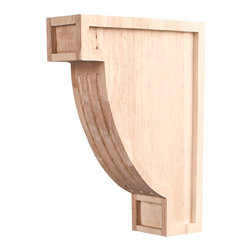 Hardware Resources - Rubberwood Arts & Crafts Fluted Corbels - Fluted Arts & Crafts Corbel 2In. x 6In. x 8In. Species: Rubberwood. Made in the USA.