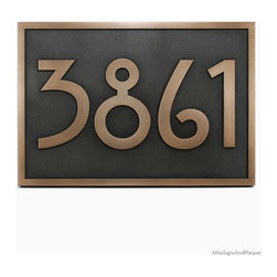 "Stickley Address Plaque 17"" x 12"" in Bronze Patina - This Address Plaque Oozes Craftsman style."