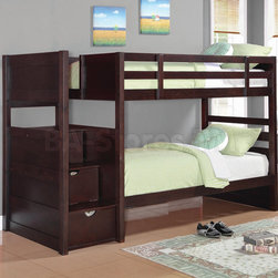 Elliott Cappuccino Twin Over Twin Bunk Bed - Designed to save space, this twin over twin bunk bed is a perfect solution for your children's bedroom. This piece offers durability and a relaxed style. Full length guard rails provide safety, while the included ladder allows for easy access to the top bunk. The staircase features three drawers for additional storage and convenience. Mattresses sold separately.