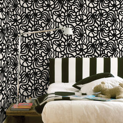 Joonas Black Wallpaper from Marimekko - This bold black and white pattern has been in production at Marimekko since the '70s, and now it's available in wallpaper. Warning: This print is not for the meek!