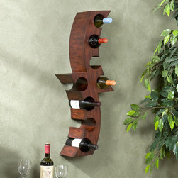 Upton Home - Upton Home Wall-mounted Curved Wine Storage Rack - Add a unique focal point to your kitchen with a decorative wall-mounted wine rack. This wine rack has a contemporary,abstract shape and is crafted from Asian hardwoods. It is perfectly sized to display a modest wine collection or a few prized bottles.