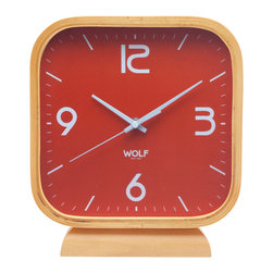 "WOLF - 8.5"" Square Mantel Clock, Orange - Simplicity and minimalism characterize this square, wood-framed mantel clock. This stark, contemporary design features an 8.5"" white dial contrasted with black hands and sans-serif numbering for easy readability."