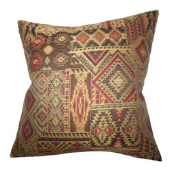 "The Pillow Collection - Gauri Geometric Pillow Brown Red 18"" x 18"" - This indoor pillow is the easiest way to reinvent your living space. This gorgeous toss pillow features an exotic geometric pattern in fiery shades of brown, yellow, black, orange and red. Crafted in the USA, this throw pillow easily blends with solids and other patterns.  Hidden zipper closure for easy cover removal.  Knife edge finish on all four sides.  Reversible pillow with the same fabric on the back side.  Spot cleaning suggested."