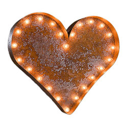 Vintage Marquee Lights - Vintage Marquee Lights Heart Vintage Marquee Light - Heart Vintage Marquee LightTurn up the lights to find your design spark! With the Heart Vintage Marquee Light, you can enjoy whimsical, eclectic-chic style. This light is made from distressed, rusted metal and is shaped into a heart. It has an authentic look, as if it were truly plucked from a salvage yard or taken off of an old business sign. Stand it up on a high shelf, or mount it on your wall as vintage-inspired art. You can use it to link two names for a sweet wedding display or let it add a shabby-chic touch to any space. Heart this light!Light can hang or stand upComes with two sets of bulbsAssembly requiredUp to four lights can be linked together