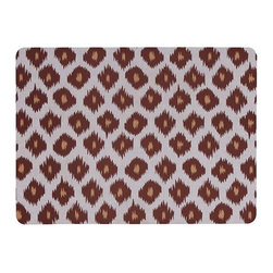 Home Decorators Collection - Ikat Kitchen Mat - Add comfort and style to your kitchen, laundry room or garage workspace with our Ikat Kitchen Mat. This supportive mat features a traditional diagonal ikat pattern in vivid colors. 8-mil thick neoprene base ideal for hardwood, tile and cement floors. Printed polyester face with near-photographic color quality. Skid-resistant backing. Can be machine washed in cold water and line dried. Made in the USA.