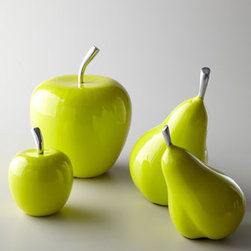 """Florence de Dampierre - Florence de Dampierre Apples & Pears Fruit Sculptures - Oversized fruit sculptures turn the ordinary into art and add a pop of color to your decor. From the Florence de Dampierre Collection for John-Richard. Handcrafted of enamel over aluminum. Set of two apple-green apples. Small, 4""""Dia. x 5""""T; large, 7""""..."""
