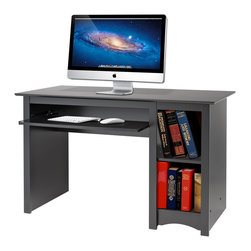 Prepac - Broadway Black Computer Desk - Every office needs a computer desk, so why compromise on value or features? This desk includes a roll-out keyboard tray and a bottom compartment designed to store your computer tower, freeing up your workspace.