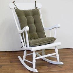 None - Willow Green Green Ribbed Microfiber Standard Rocking Chair Cushion Set - Give your favorite seat a new leash of life with this modern rocking chair cushion set. The back and seat cushion is fully tufted and has a polyester fiber fill for guaranteed comfort and durability. The sets design will complement your d_cor nicely.
