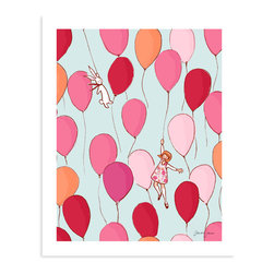 "Sarah Jane Studios - Balloons, 8""x10"" - This whimsical print full of colorful, floating balloons is sure to uplift your spirits. The palette of pinks and reds accented with pale orange and blue is cheerful yet soft, creating a light, buoyant feeling. A wonderful way to add some color to your little girl's wall."