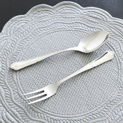Ballard Designs - Vivian 2-Piece Serveware Set - Coordinates with our Vivian Flatware. Includes Fork & Spoon. Dishwasher safe. Our 2-Piece Vivian Serving Set is like the perfect dress it can go formal or casual and looks right in any setting. Crafted of nicely weighted 18/10 stainless steel, the handles have a pretty molded edge and subtle scallop. Vivian Serving Set features: . . .