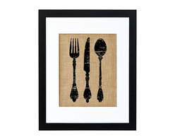 Fiber and Water - Antique Silverware Art - Nothing carries nostalgia quite like ordinary household objects. This charming print of antique silverware is a tribute to the home, the kitchen and an age gone by. Hand-printed onto natural burlap for a touch of shabby chic, it's neatly framed in a crisp black frame and white matte for a clean, modern look.