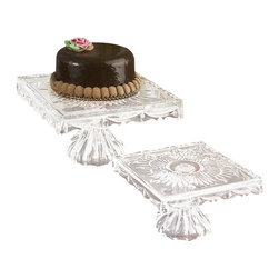 "Godinger Silver - Square Footed Cake Plate - The Freedom footed cake plate has a unique rectangular shape, and will stand out in any kind of table setting! Just place it as your table centerpiece and let your guests serve themselves with elegance! Whether you display it as your table centerpiece or tabletop decor it will add that perfect finishing touch.   *Dimensions:10"" square, and 7"" H."