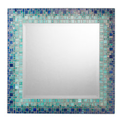 "Mosaic Mirror - Deep Blue & Teal (Handmade), 18"" - MIRROR DESCRIPTION"