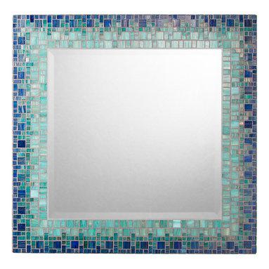 """Mosaic Mirror - Deep Blue & Teal (Handmade), 18"""" - MIRROR DESCRIPTION"""