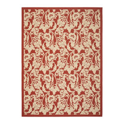 """Safavieh - Courtyard Red/Brown Area Rug CY6565-28 - 2'7"""" x 5' - Safavieh takes classic beauty outside of the home with the launch of their Courtyard Collection. Made in Belgium with enhanced polypropylene for extra durability, these rugs are suitable for anywhere inside or outside of the house. To achieve more intricate and elaborate details in the designs, Safavieh used a specially-developed sisal weave."""