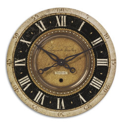 "Uttermost - Uttermost Auguste Verdier 27"" Wall Clock 06028 - Weathered, laminated clock face with cast antiqued brass details. Requires 1-AA battery."