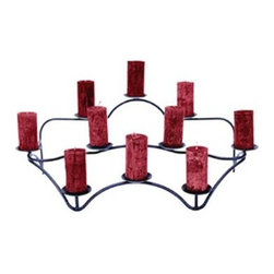 """Achla - Concord Hearth Candelabra - The tiered design adds drama to this wrought iron candelabra.  It features unique placement for 10 pillar candles that will be stylish as a display piece.  When lit, they'll bring romance and a warm glow to fireplaces when you want to enjoy flames without the heat.  Candles not included. * Ten 3""""dia. cups with needles at the centerHand made in Europe using classic Hammer & Anvil methodsFits Taper candles as well as pillarsGraphite Powdercoat finishDoes not include candles26.5 in. W x 15 in. D x 10.5 in. H"""