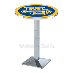 Holland Bar Stool - Holland Bar Stool L217 - Chrome Marquette Pub Table - L217 - Chrome Marquette Pub Table belongs to College Collection by Holland Bar Stool Made for the ultimate sports fan, impress your buddies with this knockout from Holland Bar Stool. This L217 Marquette table with square base provides a commercial quality piece to for your Man Cave. You can't find a higher quality logo table on the market. The plating grade steel used to build the frame ensures it will withstand the abuse of the rowdiest of friends for years to come. The structure is triple chrome plated to ensure a rich, sleek, long lasting finish. If you're finishing your bar or game room, do it right with a table from Holland Bar Stool. Pub Table (1)