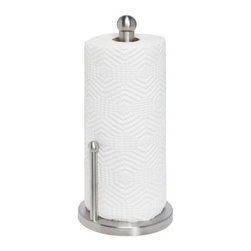 Honey Can Do - Honey-Can-Do Stainless Steel Paper Towel Holder - Stainless steel design provides a sleek look in most kitchen and bathroom decor. Easy to clean, just wipe down to keep the shine. Featuring small arm to prevent loose paper towels from getting into the way. Knob on the top keeps roll from sliding off of holder . Rubber feet keep towel holder in place, fits both standard and jumbo sizes paper towel rolls. Home organization made easy.