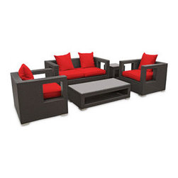 "LexMod - Lunar 5 Piece Outdoor Patio Sofa Set in Espresso Red - Lunar 5 Piece Outdoor Patio Sofa Set in Espresso Red - Elicit pure perceptions with this brightly illuminated outdoor living set. Inherit abundant light and energy as even the moon's halo shines a radiant glow on fertile red all-weather cushions and espresso rattan base. Rejuvenating discussions await along the path of illuminated space and emergent explorations. Set Includes: Four - Lunar Outdoor Wicker Patio Throw Pillows One - Lunar Outdoor Wicker Patio Coffee Table One - Lunar Outdoor Wicker Patio Loveseat One - Lunar Outdoor Wicker Patio Side Table Two - Lunar Outdoor Wicker Patio Armchairs Synthetic Rattan Weave, Powder Coated Aluminum Frame, Water & UV Resistant, Machine Washable Cushion Covers, Easy To Clean Tempered Glass Top, Ships Pre-Assembled Coffee Table Dimensions: 47""L x 24""W x 13""H Side Table Dimensions: 18""L x 18""W x 18""H Loveseat Dimensions: 59""L x 33""W x 28""H Armchair Dimensions: 33""L x 31""W x 28""H Seat Height: 13""HBACKrest Height: 27.5""H Armrest Dimensions: 4""W x 27.5""H Cushion Depth: 4""H Overall Product Dimensions: 121""L x 66""W x 28""H - Mid Century Modern Furniture."