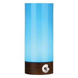 Robert Abbey - Jonathan Adler Capri Table Lamp, Blue, Small - Get the aura of a lava lamp with the highly chic Jonathan Adler table lamp. Blue, green, orange and purple are a few of the candy colors you can choose from. A three-way switch, walnut-finished wood base and cased glass shade make this light source outta this world.