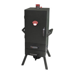 """Landmann - Smoky Mountain Two Drawer Easy Access Vertical Charcoal Smoker - Features: -Includes porcelain coated and charcoal holder. -Adjustable top chimney, side vent and temperature gauge for optimum temperature control. -Two drawer access to the water pan and wood chip box. -Heavy duty side carrying handles provide easier transport. -Magnetic door closure and durable welded hinges. -Wide stance legs provide stability and support. -Large nylon door and drawer handles. -Assembly required. -One year warranty. Specifications: -Primary cooking area: 698 Square inch. -Overall dimensions: 43.25"""" H x 21"""" W x 18"""" D."""